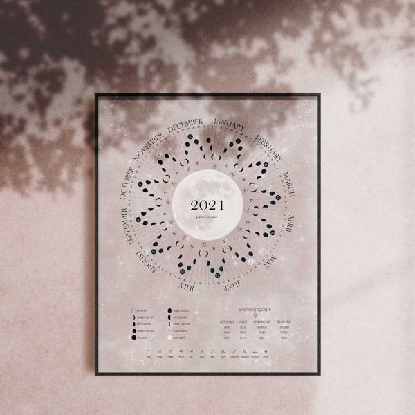 Soft Pink 2021 Moon Cycle Calendars Girl and Her Moon