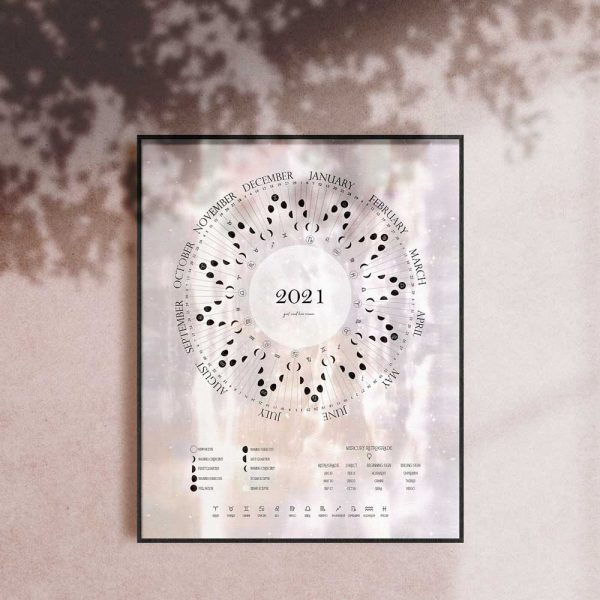 White Light 2021 Moon Cycle Calendars Girl and Her Moon