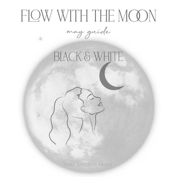 May Flow with the Moon Guide Black and White Girl and Her Moon