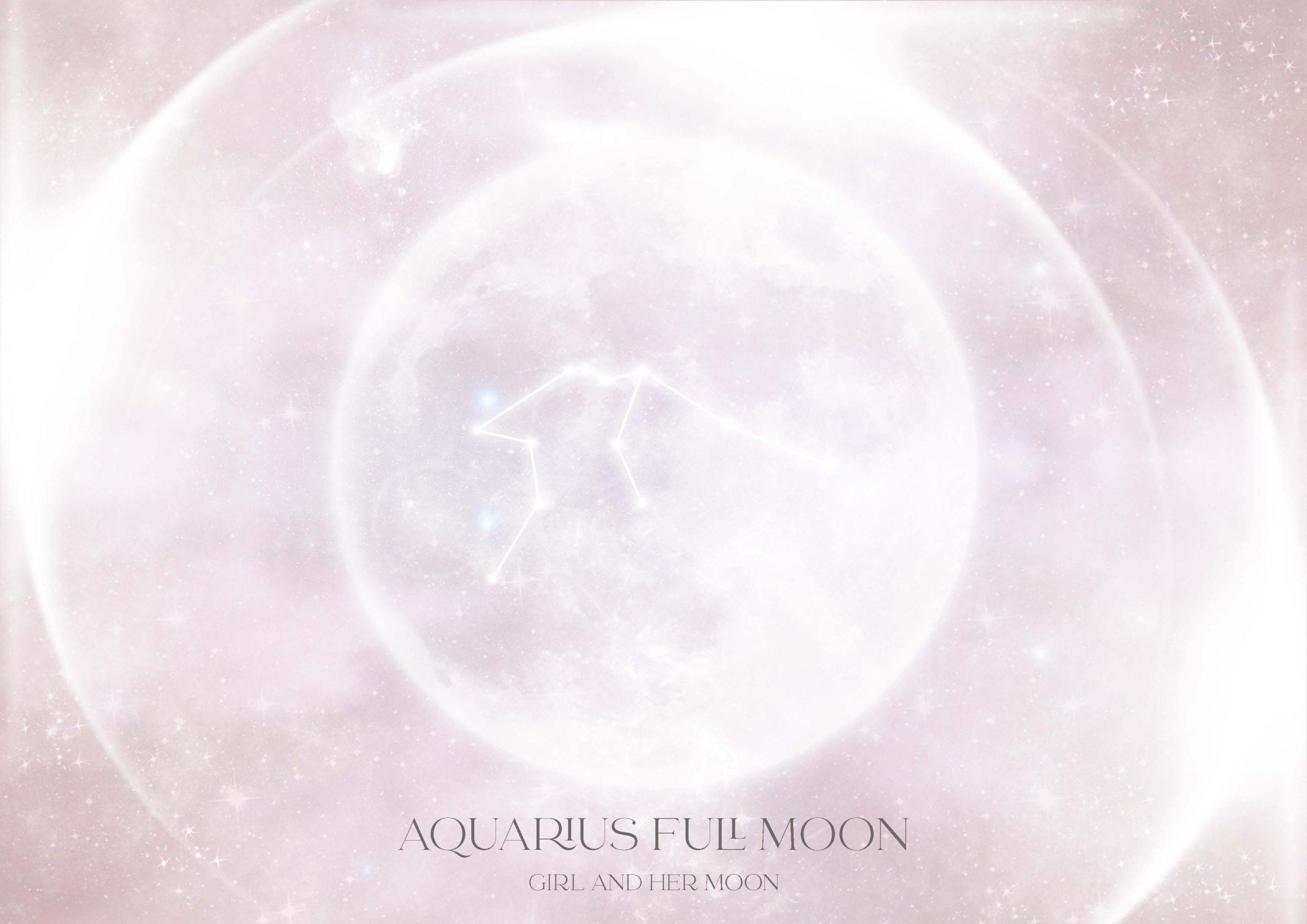 Aquarius Full Moon August 2021 Girl and Her Moon