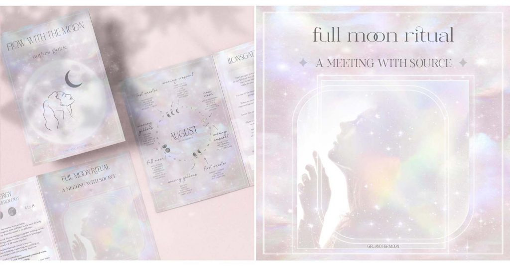 Aquarius Full Moon August Ritual Girl and Her Moon